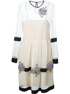스트라이프 플로럴 아플리케 드레스