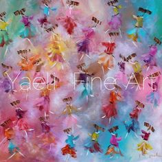 I'll tell you how I came up with this painting - a long time ago I saw a painting of butterflies in a magazine and filed the concept somewhere in my brain, knowing that I wanted to recreate it somehow. Last week I came across that image again and I remembered my inspiration & knew that if I didn't act NOW it wouldn't happen. So here it is! I love the light, abstract and the flow of the painting, but the meaning behind it has my heart. Multicolored, abstract dancing chassidim painting.
