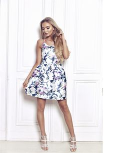 Sistaglam Lillian Multicolour Floral Satin Look Cami Dress  £60.00  Embrace your girly side with this ultra cute floral skater dress. Features cami straps and a flirty mini length that lets you put those pins on display. The romantic print and summery design makes it ideal for bridesmaids, wedding guests and prom.
