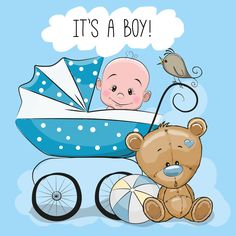 Baby boy with baby carriage and teddy bear Vector Image Baby Shower Greetings, Baby Shower Greeting Cards, Baby Cards, Kids Cards, Clipart Baby, Cow Baby Showers, Baby Boy Shower, Dibujos Baby Shower, Scrapbook Bebe