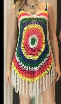 This Pin was discovered by Lor Crotchet Dress, Crochet Blouse, Crochet Shawl, Bikini Crochet, Crochet Baby, Knit Crochet, Crochet Bathing Suits, Crochet Woman, Crochet Fashion