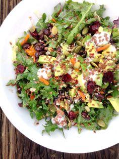 Lunch: Bowl of kale salad w/ black beans, avocado, Spring onions, radish, peas, carrot, flax seed & pepitas.