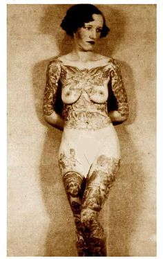 Jean Furella Carroll was a sideshow bearded lady who became a tattooed lady for love. Read about her interesting story and see her tattoos! Old Tattoos, Body Art Tattoos, Girl Tattoos, Tattoos For Women, Tattooed Women, Vintage Tattoos, Old Tattooed People, Tatoos, Historical Tattoos