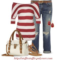 Red Stripes & Boyfriend Jeans, created by steffiestaffie on Polyvore