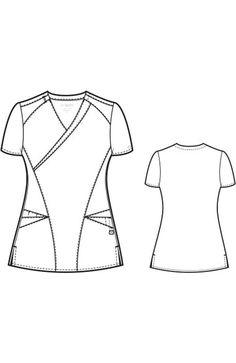 by WonderWink Women's Mock Wrap Solid Scrub Top Nurse Uniforms, Lab Coats, Medical Scrubs, Fashion Design Sketches, Scrub Tops, Stretch Fabric, Look, Sewing Patterns, Illustrations