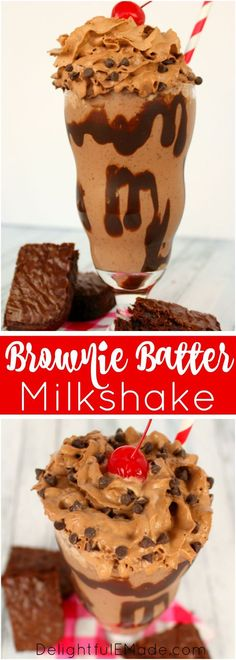 This Brownie Batter Milkshake is loaded with creamy, delicious chocolate flavor, brownie pieces, and topped with delicious chocolate whipped cream! The perfect frozen treat for cooling off on a hot day!