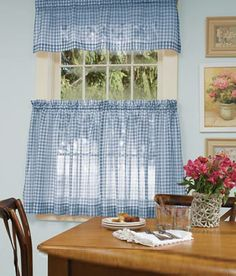 Cute White And Blue Checkered Curtains With A Little Ruffle On The End. I  Could See This In My Future Kitchen..   Household Ideas   Pinterest   Blue  ...