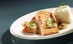 Grillowany łosoś z purée z jabłek i kopru włoskiego - Kuchnia Lidla #lidl #przepis #losos