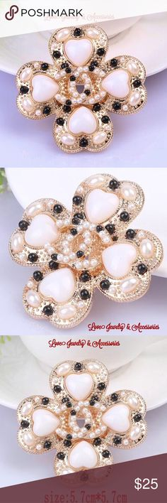 Luxury C Logo Heart Flower Pearl Gold Brooch Elegant luxury design C Logo White Heart, black and white pearl, Gold Flower Brooch. Size 5.7cm x 5.7cm Love Jewelry & Accessories Jewelry Brooches