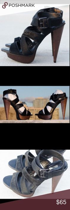 NEW REPORT SIGNATURE SZ 7.5 6.5 Pony Hair Sandal REPORT SIGNATURE (7.5) 6.5 Blac Pony Hair, Sky High, Calves, Black And Brown, Shoes Sandals, Leather, Balliage Hair, Fashion Trends, Fit