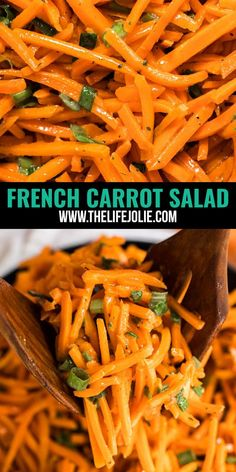 This French Carrot Salad is a light and simple salad! It's so quick and easy to whip up and is sure to become your go-to salad for a busy weeknight! Vegetable Side Dishes, Vegetable Recipes, Vegetarian Recipes, Cooking Recipes, Healthy Recipes, Vegetable Soups, Cooking Tips, Healthy Food, Layered Taco Salads