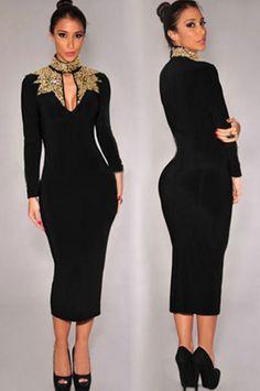 Women Winter dress elegant Black Gold Sequins Mock Neck
