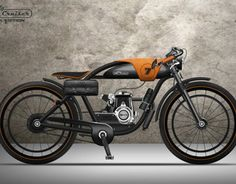 Local Motors has announced the results of its LM Cruiser bike design challenge. The first three winners are Ianis Vasilatos, Nagabhushan Krishna Hegde and Andre Costa. Motor Cruiser, Cruiser Bicycle, Motorized Bicycle, Bicycle Sidecar, Cafe Bike, Vintage Moped, Vintage Motorcycles, Gas Powered Bicycle, Style Cafe Racer