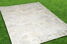 New design! All white cowhide patchwork rug  Squares and rectangles
