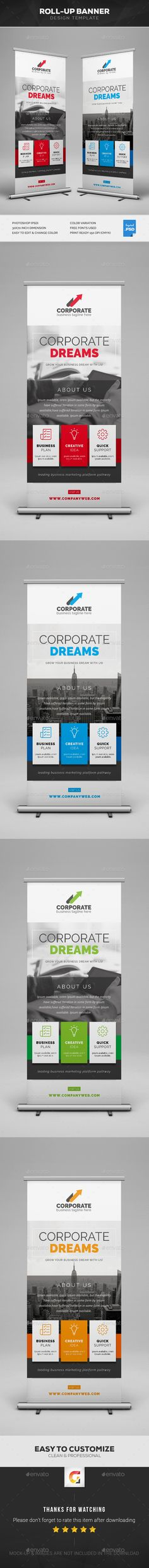 Corporate Roll-Up Banner Template PSD - Graphic Files Graphic Design Print, Ad Design, Graphic Design Inspiration, Layout Design, Branding Design, Free Banner Templates, Layout Template, Rollup Banner, Best Banner