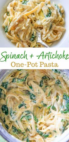 Creamy Spinach and Artichoke Pasta - a vegetarian, one pot meal that is basically your favorite dip in dinner form! Creamy Spinach Artichoke Pasta - a one pot meal that is your favorite dip in dinner form! Spinach Artichoke Pasta, Creamy Spinach, Creamy Pasta, Artichoke Dip, Vegetarian One Pot Meals, Vegetarian Pasta Recipes, Cooking Recipes, Skillet Recipes, Casserole Recipes