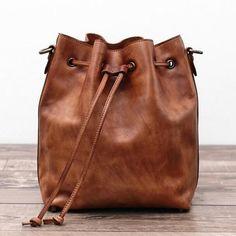Genuine Leather Messenger Shoulder Bag Cross body Bag Leather Bucket Bag WF 55 - ArtofLeather
