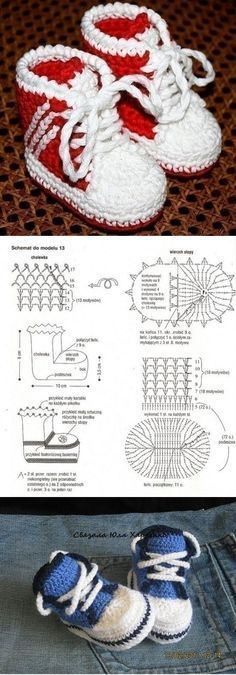 """Crochet Baby Booties [ """"Awesome Cute Baby Booties Pattern When I finally learn to read a diagram."""", """"Basketball Shoes - 36 Pairs of Baby Booties to Keep Tiny Feet Warm ."""", """"Crochet booties ❤️LCB-MRS❤️ with diagrams. Crochet Baby Booties Tutorial, Crochet Baby Shoes, Crochet Baby Clothes, Crochet Slippers, Love Crochet, Crochet For Kids, Knit Crochet, Kids Slippers, Crochet Crafts"""