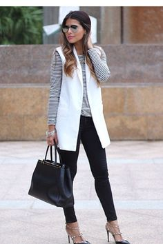 Discover this look wearing White White Vest Zara Vests, Black Black Joes Jeans Jeans - White Vest by PamHetlinger styled for Chic, Dinner Date in the Fall White Vest Outfit, Vest Outfits, Cool Outfits, Fashion Outfits, Fashion Ideas, Fashion 2020, Star Fashion, Fashion Beauty, Women's Fashion