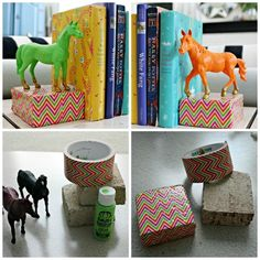diy: tape covered brick + painted animal bookends...