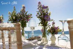 Setting up for Natasha and Andrei's Vintage Lavender Wedding in Santorini Wedding Vows, Wedding Venues, Dream Wedding, Dana Villas, Garnet Wedding, Santorini Wedding, Wedding Details, Lavender, Flowers