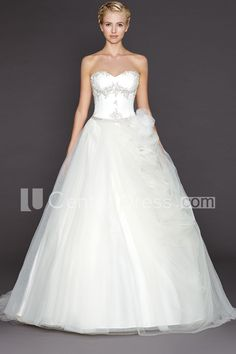 $154.49-Alluring Sweetheart Tulle Strapless A Line Backless Wedding Dress. http://www.ucenterdress.com/ball-gown-sweetheart-tulle-wedding-dress-with-flower-pMK_702559.html. Shop for Best wedding dresses, Lace wedding dress, modest wedding dress, strapless wedding dress, backless wedding dress, wedding dress with sleeves, mermaid wedding dress, plus size wedding dress, We have great 2016 fall Wedding Dresses on sale. Buy Wedding Dresses online at UCenterDress.com today!