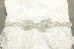 Satin/organza Bow Pearl Bridal SashWedding by whitegardenlace, $62.99