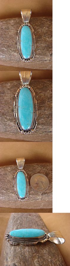 Necklaces and Pendants 98498: Native American Indian Jewelry Sterling Silver Turquoise Pendant! Navajo -> BUY IT NOW ONLY: $80.99 on eBay!