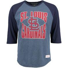 Men's St. Louis Cardinals Mitchell & Ness Navy Team Practice Three-Quarter Length Raglan T-Shirt