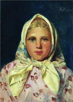 Girl in a Kerchief (Portrait of the Girl), c. 1870, Konstantin Makovsky. Location unknown.