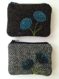 Handmade Fabric Coin Purse small Make up bag made with Harris Tweed fabric