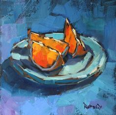 Blues and Oranges, painting by artist Cathleen Rehfeld