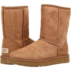 UGG Classic Short II (Chestnut) Women's Boots ($160) ❤ liked on Polyvore featuring shoes, boots, ankle booties, synthetic shoes, platform shoes, ugg australia, flexible shoes and ugg® australia shoes