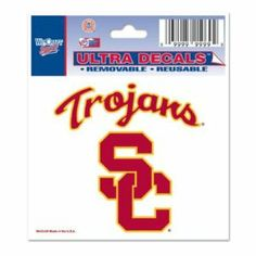 "USC Trojans 3""x4"" Ultra Decal Window Cling by WinCraft. $1.95. Top Quality, Manufactured by Wincraft. Officially licensed by the USC Trojans. Officially licensed by the NCAA. Show your team pride everywhere you go. 3""x4"" Ultra Decals stick to multiple surfaces and are removable and reusable. These versatile clings can be used indoors or outdoors and will not leave a residue when removed. Made in the USA.. Save 87% Off!"