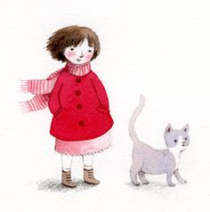 Fillette et son chat by Marie Flusin