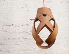 random pendant lampshade (cherry wood)