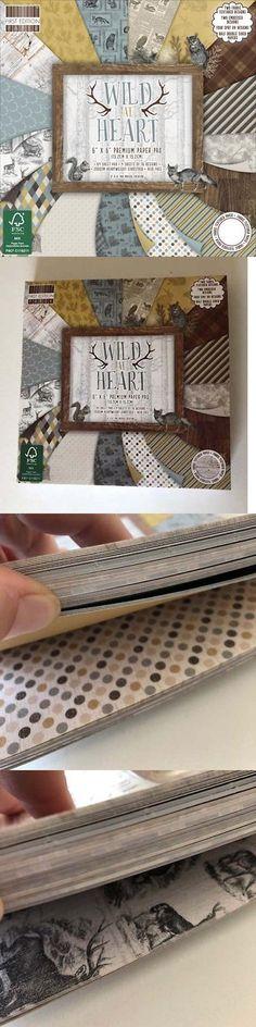 "6x6 Paper Pad WILD AT HEART 4 Ea 16 Designs=64 Sheets 6/""x6/"" Animals Card Making"