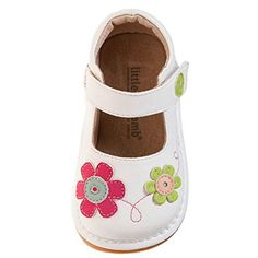 Little Blue Lamb - Squeaky Leather Toddler Girls Shoes | White flowers fushia and green: Amazon.co.uk: Shoes & Bags