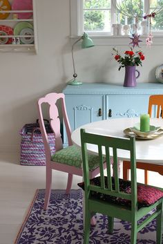 50 Shades of Pastel Home Decor - The Cottage Market Pastel Home Decor, Retro Home Decor, Bright Decor, Dining Room Furniture, Dining Chairs, Dining Table, Room Chairs, Dining Area, Eclectic Furniture