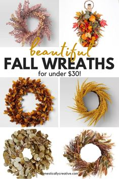 Adorning your door for Fall doesn't have to cost an arm and a leg. Check out these beautiful and affordable Fall wreaths under $30! #affordablefalldecor #affordabledecor #fallwreaths Fall Wreaths, Christmas Wreaths, Modern Fall Decor, Indoor Wreath, Diy Wreath, Wreath Ideas, Fall Crafts For Kids, Autumn Activities, Fall Diy