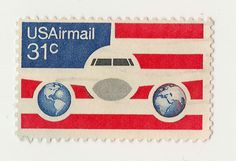 U.S. airmail postage stamp.
