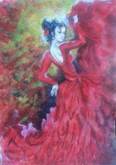 لوحة الغجريه الراقصه.  من اعمالي. رسم بالاكرليك. 20 14.