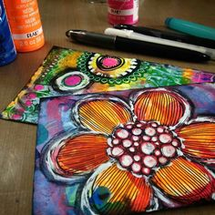 Diane's Mixed Media Art - mail art; I love her bright colors.  :)