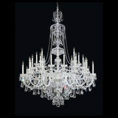 Schonbek Sterling 43 Light Chandelier     Sterling exemplifies the eighteenth century style all-crystal chandelier, with hand-formed crystal arms and elaborately cut crystal pendants, column pieces and dishes. Sterling can be a modest investment or an extravagance, depending on your choice of crystal trim.