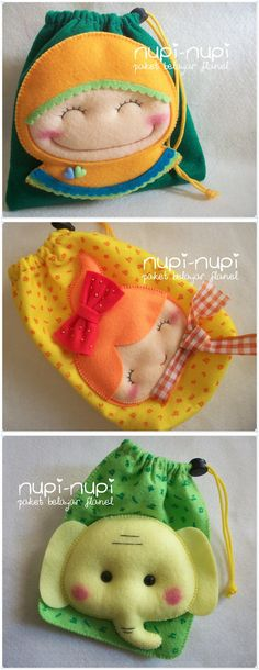 nupi-nupi: pull string bag Que bonitas! Felt Diy, Felt Crafts, Fabric Crafts, Sewing Crafts, Diy And Crafts, Sewing Projects, Felt Patterns, Baby Kind, Felt Fabric