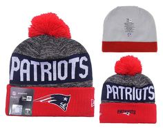 Men's / Women's New England Patriots New Era NFL 2016 Sideline Sprots Knit Pom Pom Beanie Hat - Red / Grey / Navy