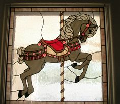 CAROUSEL MERRY GO HORSE STAINED GLASS WINDOWS 4 PANELS 33
