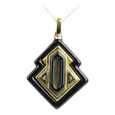 Vintage David Webb Black Enamel and Gold Heavy Pendant Necklace Gold Filigree, 18k Gold, David Webb, Vintage Omega, Black Enamel, Fudge, Vintage Jewelry, Jewelry Necklaces, White Gold