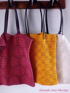 3 x pattern crochet marketbag Love Crochet, Diy Crochet, Double Crochet, Single Crochet, Crochet Top, Crochet Handbags, Crochet Purses, Crochet Bags, Crochet T Shirts