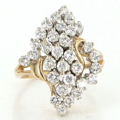 Vintage 14 Karat Yellow Gold 2 Carats Diamond Cluster Cocktail Ring Fine Jewelry $1295